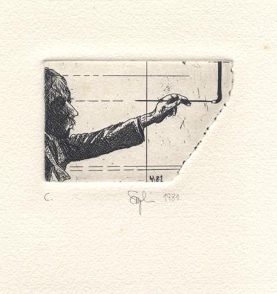 Hans Reinhard Szymansky : «Selfportrait painting a straight line»